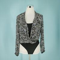 AllSaints Size Small S Camille Mara Bodysuit Surplice V-neck Long Sleeves Top