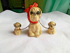 3 Piece Vintage Dog W/ Mumps Scarf & Puppies on Chain Figurines Shih Tzu Maltese