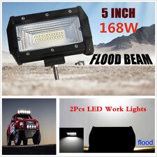 2pcs 5inch 168W Flood LED Working Light Bars SUV Off Road Truck Driving Fog Lamp