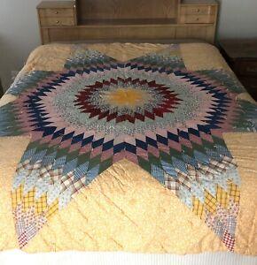 "Vintage Quilt 84"" x 80"" Patchwork Star Size Queen Bed Comforter Twin Bedspread"