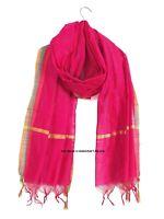 Indian Traditional Dupatta chanderi zari border ,Scarf Pink Silk Scarves Wrap