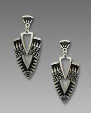 Adajio Earrings Etched Deco Shield in Antique Silver and Black Handmade in USA