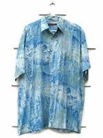 Tori Richard Men's Blue Shirt Hawaiian Aloha Green Leaves Floral 100% Viscose XL