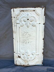 "Antique Decorative Tin Metal Ceiling 13"" x 24"" Shabby VTG White Chic 1132-20B"