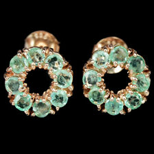 NATURAL AAA GREEN COLUMIBAN EMERALD ROUND STERLING 925 SILVER FLOWER EARRING
