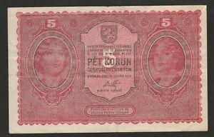 1919 CZECHOSLOVAKIA 5 KORUN NOTE