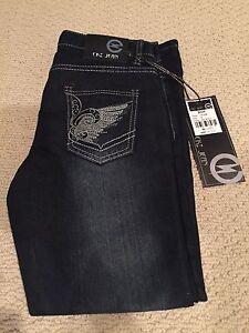 NWT Boy's EKZ Denim Jet Dark Blue Wing Embroidered Pocket Jeans Sz 8-18 Husky