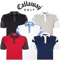Callaway Golf Mens Chev Blocked Polo Shirt Opti-Dri Stretch Tech Colorblock