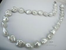 HS Keshi South Sea Cultured Pearl 12.9x16.3mm 18K White Gold Necklace 17 3/4""