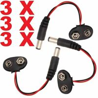 3x PP3 9V DC Battery Clip 2.1 mm Power Cable Jack Connector for Arduino DIY CCTV
