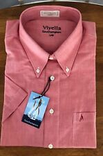New Viyella Southampton Light Cardinal Red Short Sleeve Cotton Shirt, Large, $85