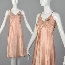 M 1940s Deadstock Pink Rayon Full Slip Lace Bodice Trim Lingerie Loungewear 40s