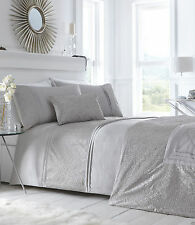 SUPER KING DUVET COVER SET LAVELLE STEEL SILVER CRINKLE BORDER BEDDING LUXURY