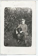 DA730 Carte Postale Photo vintage original RPPC Militaire allemand Chien dog