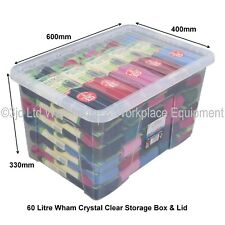 Pack of 4 60ltr Plastic Storage Boxes Clear With Clear Lids by CrazyGadget