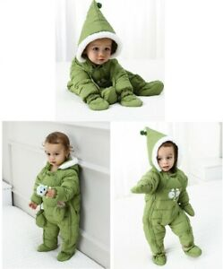 Baby Ski Snow Suit All-In-One Water Repellant Green Snowsuit w/ Hood Size 0