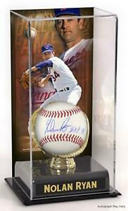 Nolan Ryan Rangers Signed Baseball with HOF Insc and Display Case with Image