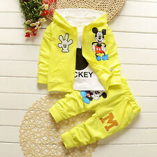 3pcs Kids Baby Boy Girl Mickey Mouse Hoody Coat+T shirt+Pants Clothes Outfit Set