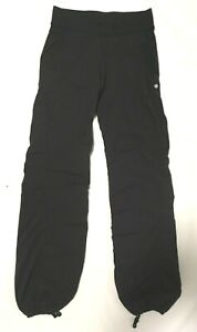 Lululemon Women's Track Activity Pants Long Black Drawstring Legs Pockets Size 4