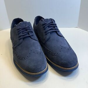 Cole Haan Men's Wingtips Original Grand OS Navy Blue Leather Suede Size 6.5W Exc