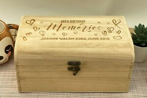 Birthday Memories Personalised Wooden Engraved Treasure Chest Box Various Sizes