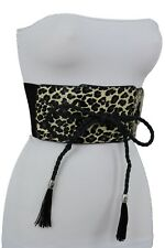 Women Belt Fashion High Waist Wide Corset Elastic Black Leopard Animal Print S M