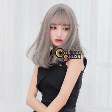 45CM Japanese Lolita Natural Gray Wavy Heat Resistant Thin Bang Cosplay Wig+Cap