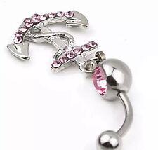 Bauchnabelpiercing Silber Anker mit Zirkonia Kristallen Piercing P25