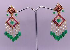 BEAUTIFUL CHANDELIER RUBY EMERALD PEARL COLOR STONE STUDDED DANGLING EARRING