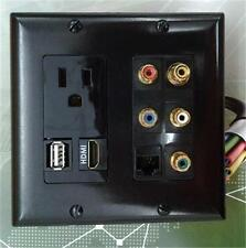 AC 15A 110V POWER OUTLET + HDMI + USB + CAT5E RJ45 + 5 RCA AUDIO/VIDEO WALLPLATE
