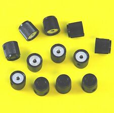 "12 pc LOT = 1/8"" SMALL BLACK INSTRUMENT KNOBS = 2 SET SCREWS"