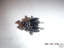 Vintage Art Deco Bug Pin Brooch Black Marcasite Red Eyes See Photos