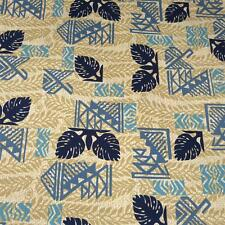Hawaiian Print Cotton Blend Fabric Per 1/2 Yard Tapa Print Tan Blue Transpacific