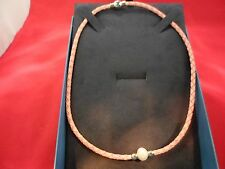 10mm White Cultured Freshwater Pearl Braided Coral Colored Necklace w/SS Accents