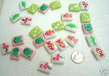 50 pcs Frog Fish Lizard Flamingo Star Beads New 2 holes
