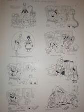 Una entrevista interrumpida Rene Bull 1894 impresión de dibujos animados antiguos