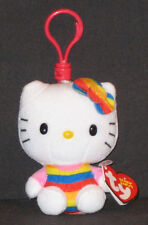 TY HELLO KITTY RAINBOW KEY CLIP BEANIE BABY - MINT with MINT TAGS