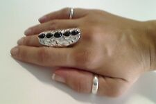 Trending Silver Plated Knuckle Ring With 5 Black Stone
