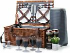 Large Wicker Picnic Basket for 4 with Insulated Compartment Waterproof Blanket