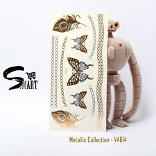 Women Temporary Metallic Tattoo Butterfly Feathers Necklace Bracelet Chain V4614