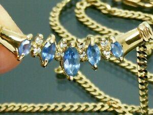 "9ct Gold Sapphire & Diamond 16"" Hallmarked Art Deco design Necklace 4.3 Grams"