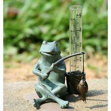Spi Home Frog Fisherman Rain Gauge Watcher Fishing Garden Plant Stake Fish Metal