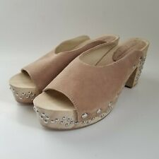 Free People Studded Wood Clog Mules Beige Suede Slip On Sandals Size 39 New