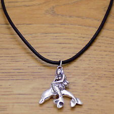 Awesome Marvelous Mermaid Dolphin Pendant & Black Leather Adjustable Necklace