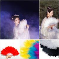 Women Soft Fluffy Feather Fan Feather Hand Fan Folding Wedding Dance Props Gift