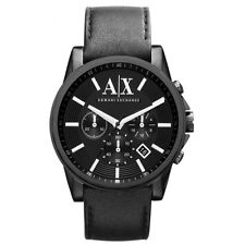 Armani Exchange Black Leather Chronograph Mens Watch AX2098