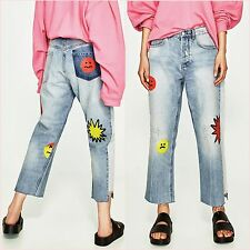 Zara Blue MARIO Wide Straight Frayed Hem Crop Jeans 6 UK EU 34 US 2 Blogger ❤
