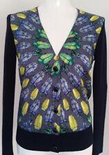 Tory Burch Scarab Beetle Silk Panel Cardigan Sweater Merino Wool  XS S 2 4 RARE