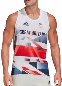 adidas Team GB Mens Running Vest - White