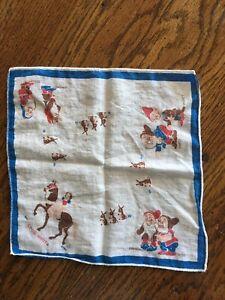 """Vintage Child's Handkerchief Hankie Snow White & 7 Dwarfs 8 1/2"""""""